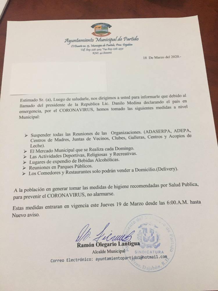 COMUNICADO POR CORONAVIRUS AL MUNICIPIO